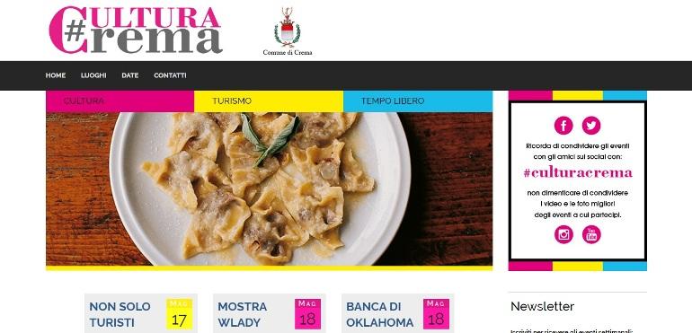 Uno screenshot dell'hompage di #culturacrema